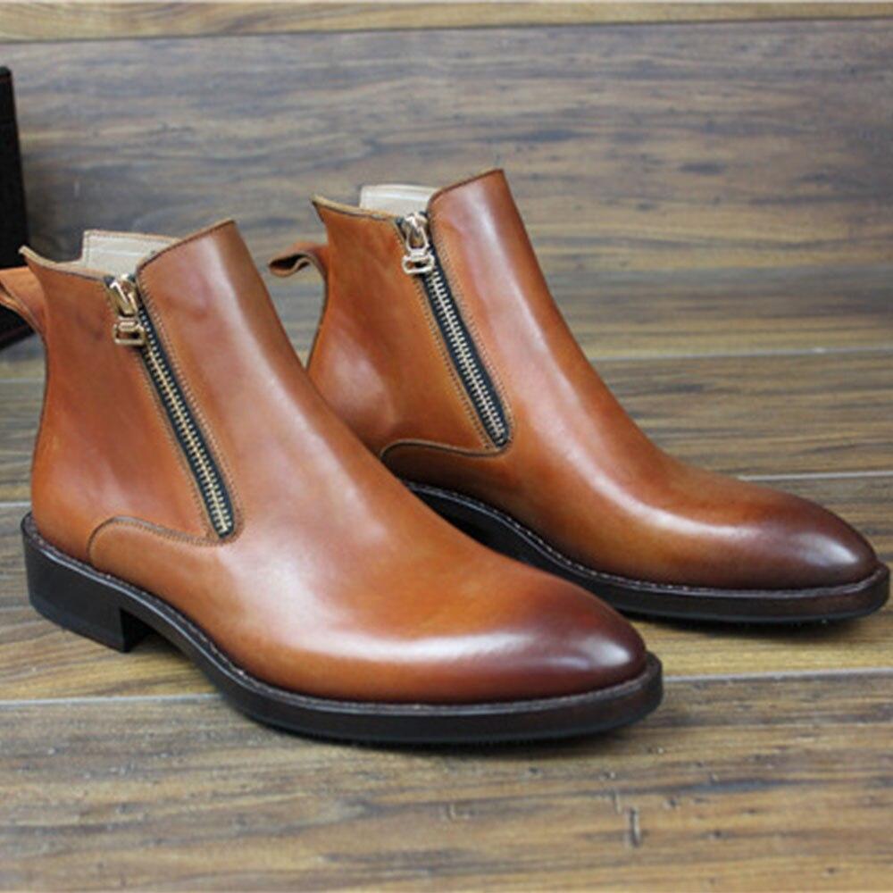 SIPRIKS italien double fermeture éclair bottes hommes couture welt chaussures bout pointu bottes en cuir de veau rétro fête bottines patine chaussures de plein air - 4