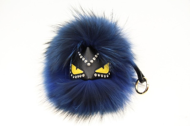 Fur little monster keychain, F fashion models cute face 100% really cool bag pompom fox fur plush  key pendant car ornaments OR