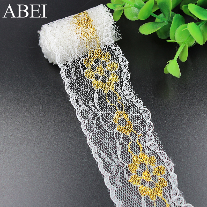4cm 10yards/lot Polyester Gold Lace Trims Wedding Party Gift Christmas Scrapbooking Decoration Ribbon Tape DIY Sew On Crafts