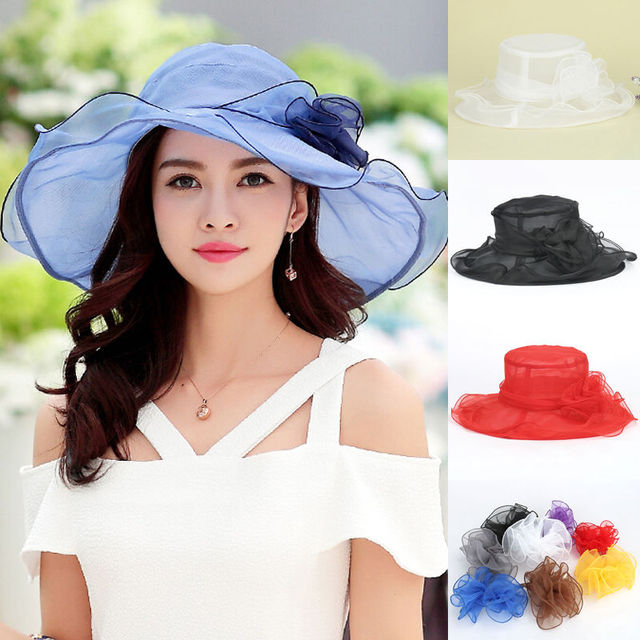 Fashion Women Ladies Vintage Wide Brim Beach Summer Sun Hat Wedding Party  Outside Organza Floral Causal Solid Cap Hat US e4e56179ec07