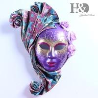 H&D Masquerade Mask Mardi Gras Mask for Women Handmade Venetian Party Prom Ball