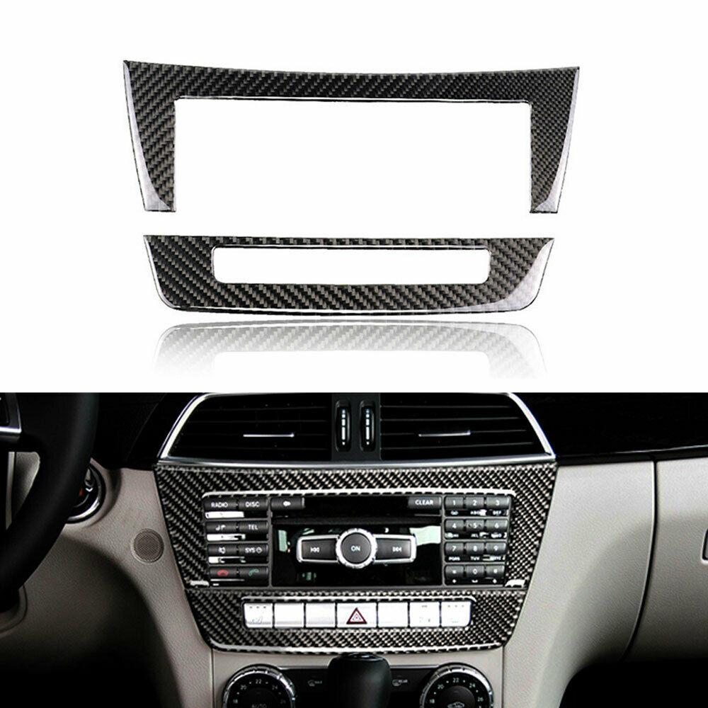 Garniture de couverture de panneau de CD de Console moyenne de voiture de Fiber de carbone pour l'autocollant intérieur de voiture de Mercedes Benz classe C W204 C220 C200 C35 2010-2013