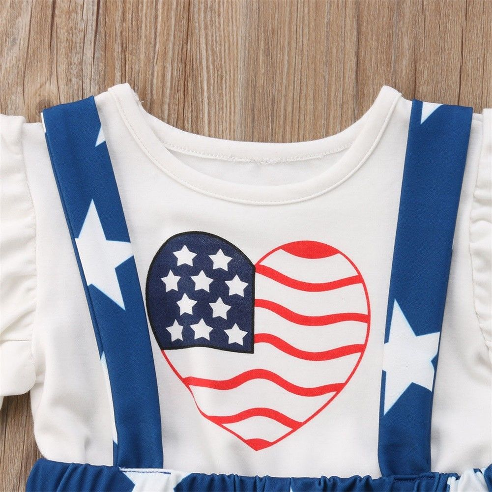 417fff7eed 2018 Set Girls Heart Flag Tops Kids Baby Toddler Tops+Suspender Skirt T  shirt Outfits Clothes Summer Star Holiday Set-in Clothing Sets from Mother    Kids on ...