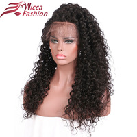 Wicca Fashion Remy Curly Wigs 16 24 Nature Color Peruvian Lace Front Human Hair Wigs 150