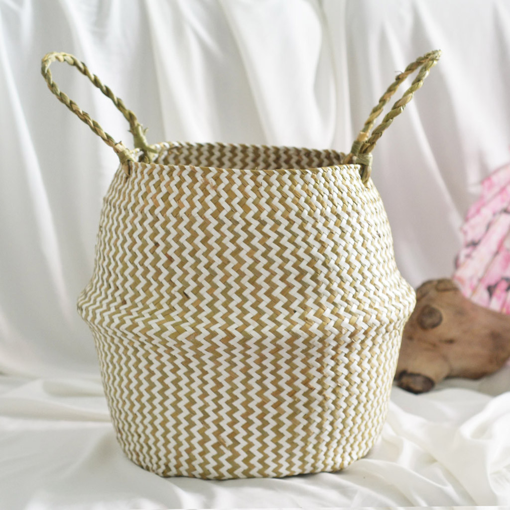 Image 4 - Household necessities Seagrass Wicker Basket Flower Pot Folding Basket Dirty Basket Storage Decoration shop owner recommended-in Flower Pots & Planters from Home & Garden