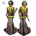 BRW Традиционной Африканской Печати Базен Riche Урожай Юбка и Топ плюс Размер Dashiki Двух Частей Установить Африканские Одежды для Женщин WY1056