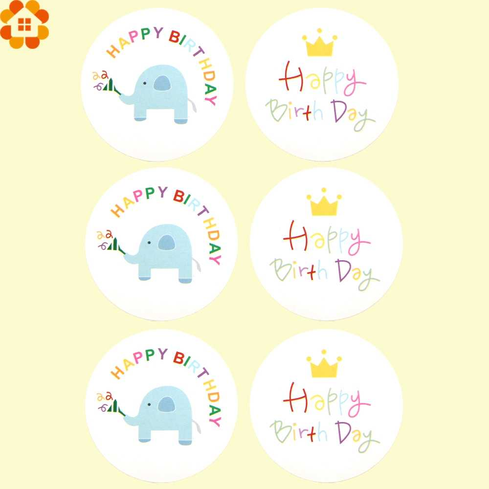 60PCS Cute Happy Birthday Paper Gift Tags Stickers Biscuit Label Sticker Party Favors DIY Christmas
