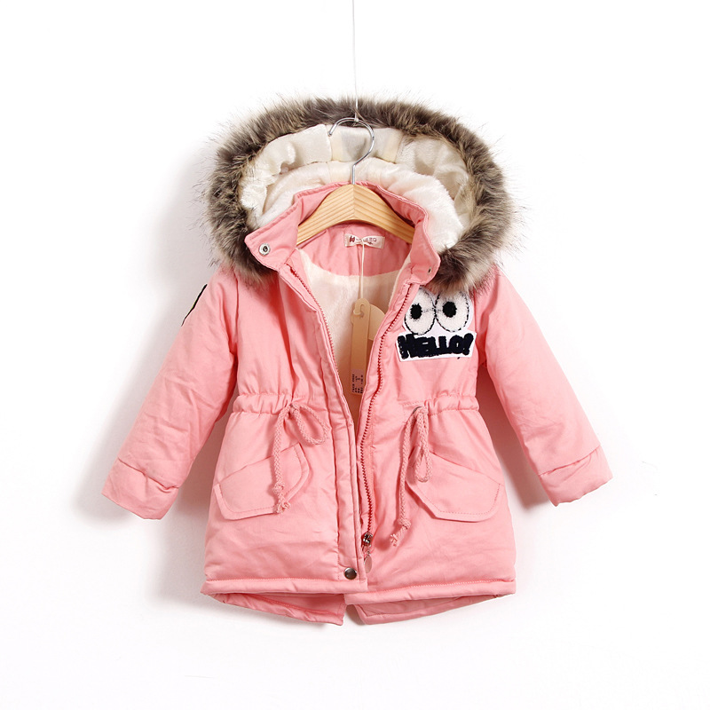 New 2018 Fashion Children Winter Cotton Padded Jacket Girl Winter Coat Kids Warm Thick Faux Fur Collar Hooded long Parkas Coats winter jacket women 2017 mid long thicken warm cotton padded down parkas coat faux fur collar hooded jacket for girl