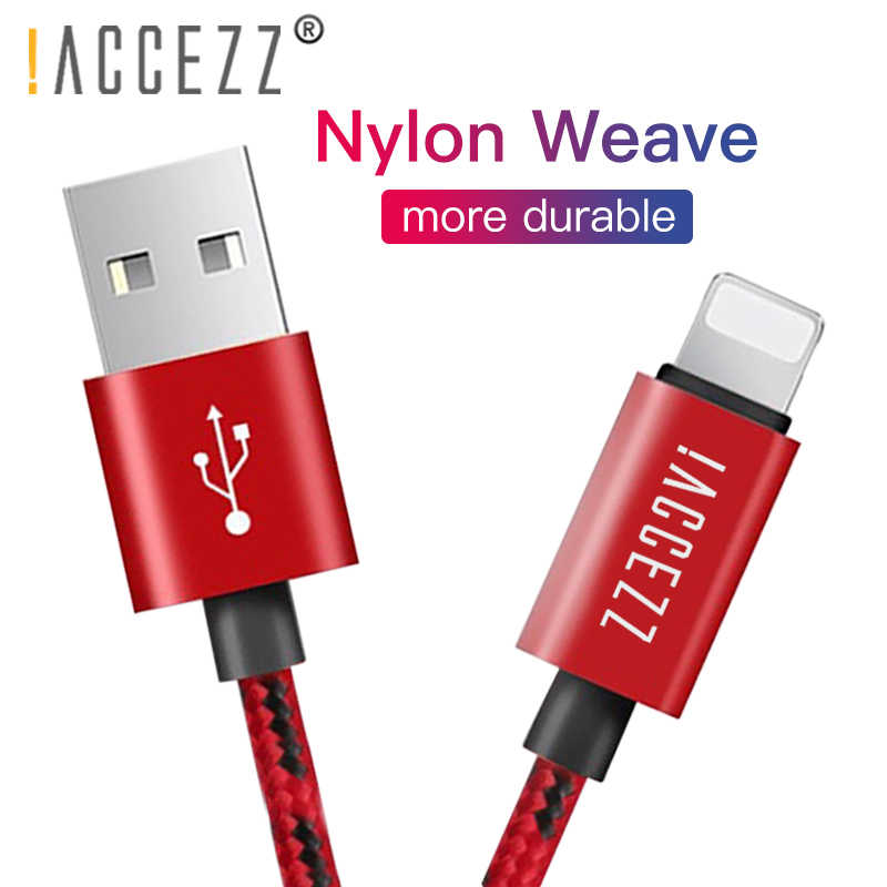 ¡! ACCEZZ Nylon Cable de carga USB para Apple iPhone XR XS MAX 8 7 6 6 S Plus línea de carga para iPad mini Cables de sincronización de fecha de carga rápida