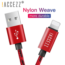 !ACCEZZ Nylon USB Charging Cable For Apple iPhone XR XS MAX 8 7 6S Plus Charge Line iPad Mini Fast Date Sync Cables