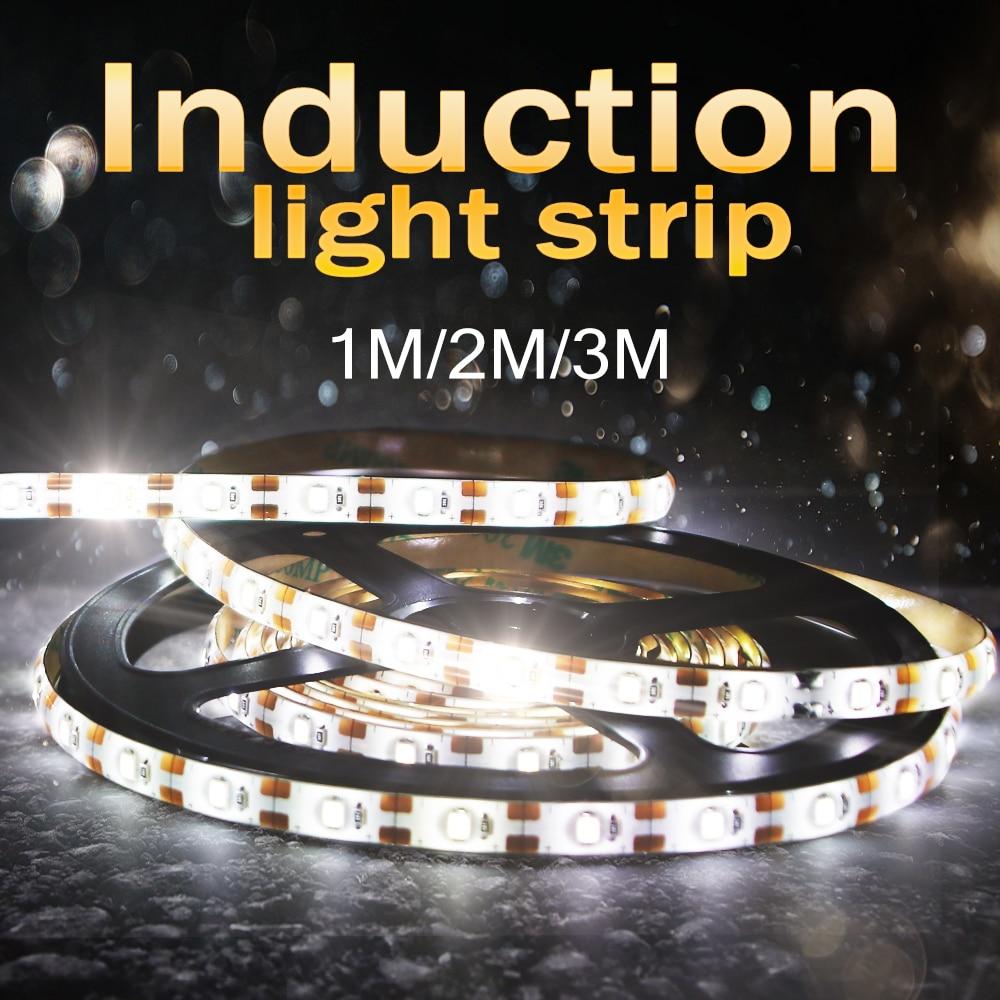Led Strip Motion Sensor Light 5V Diode Tape Led Neon Ribbon 1M 2M 3M Backlight TV Flexible Fita Led Light Strip Battery Powered(China)