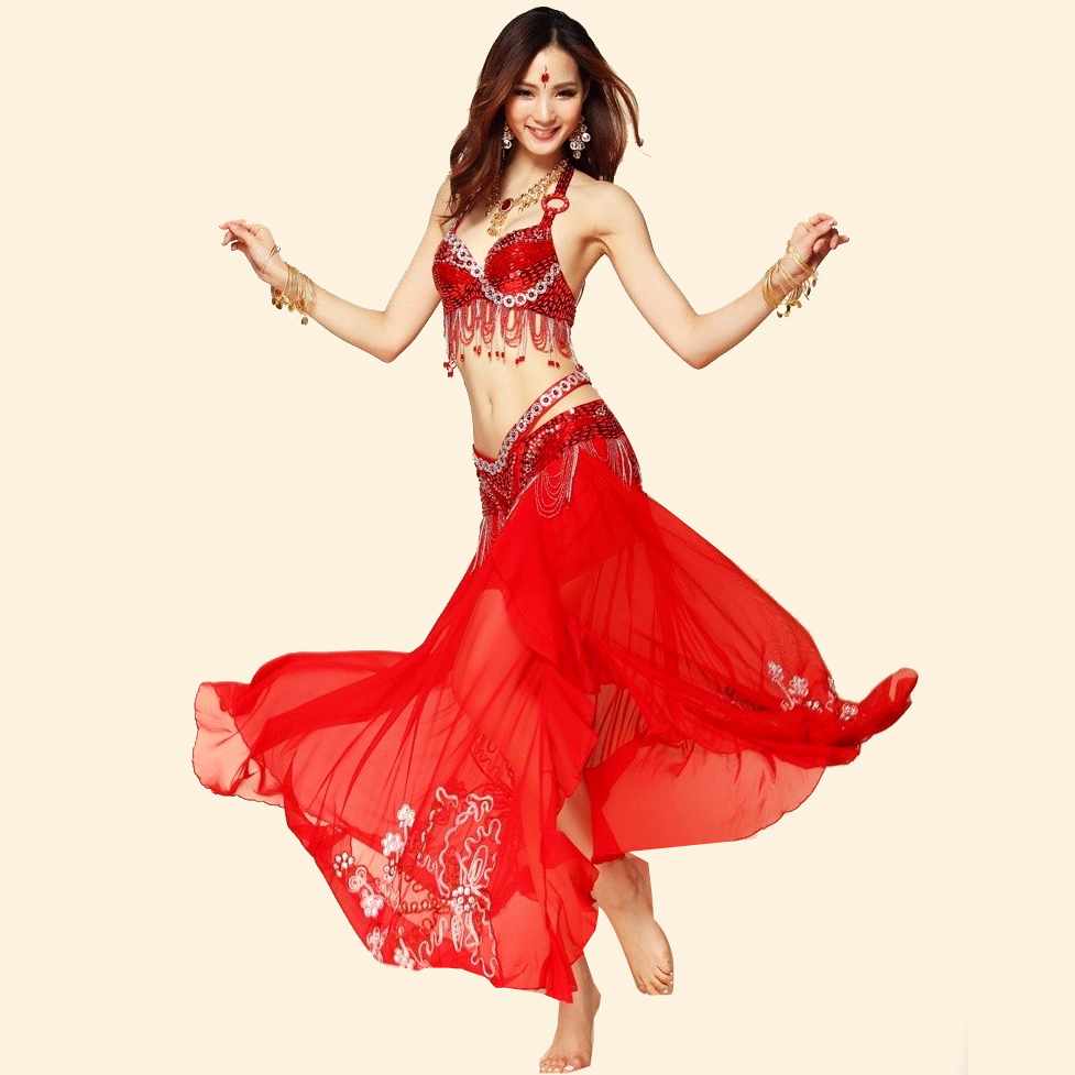 Danse du ventre Costume 3 pièces Brassière + Ceinture + Broderie Jupe 34/75B 36/80C 38/85C Livraison Gratuite Inde Robe Longue Jupes de Gitane