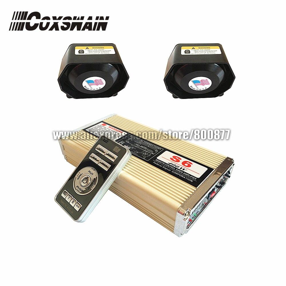 Car styling Coxswain 400W wireless Police electronic siren S6 Car Radio Siren speaker warning amplifier( Siren + 2pcs speaker))