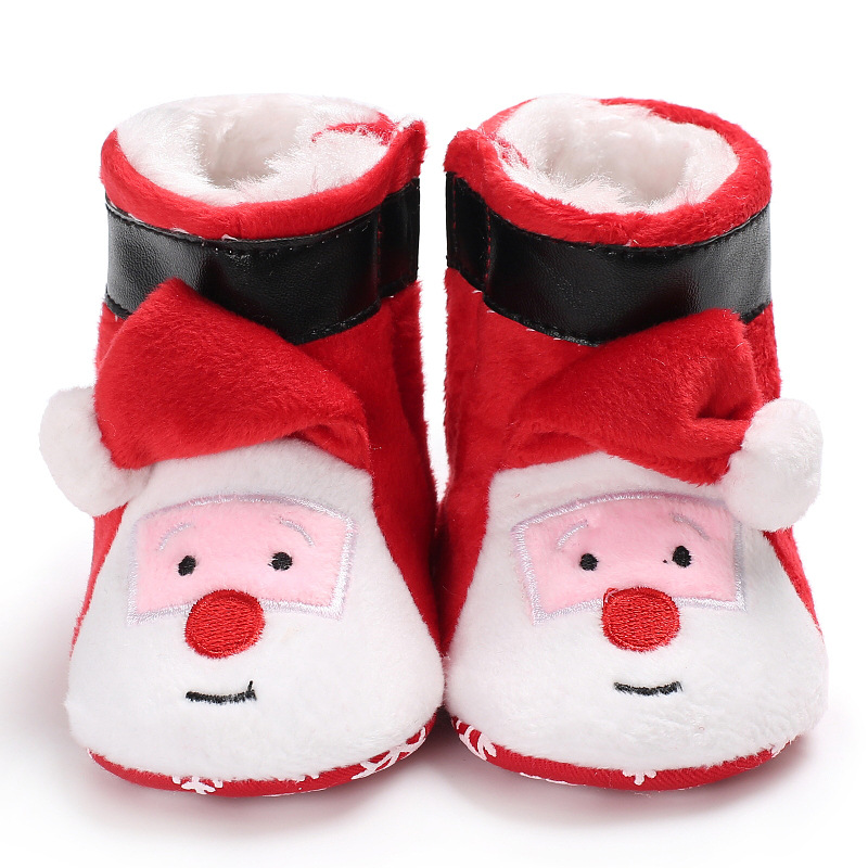 Winter Santa Claus Pattern Men And Women Baby High Help Plus Velvet Warm Shoes Children Toddler Toddler Shoes Boots