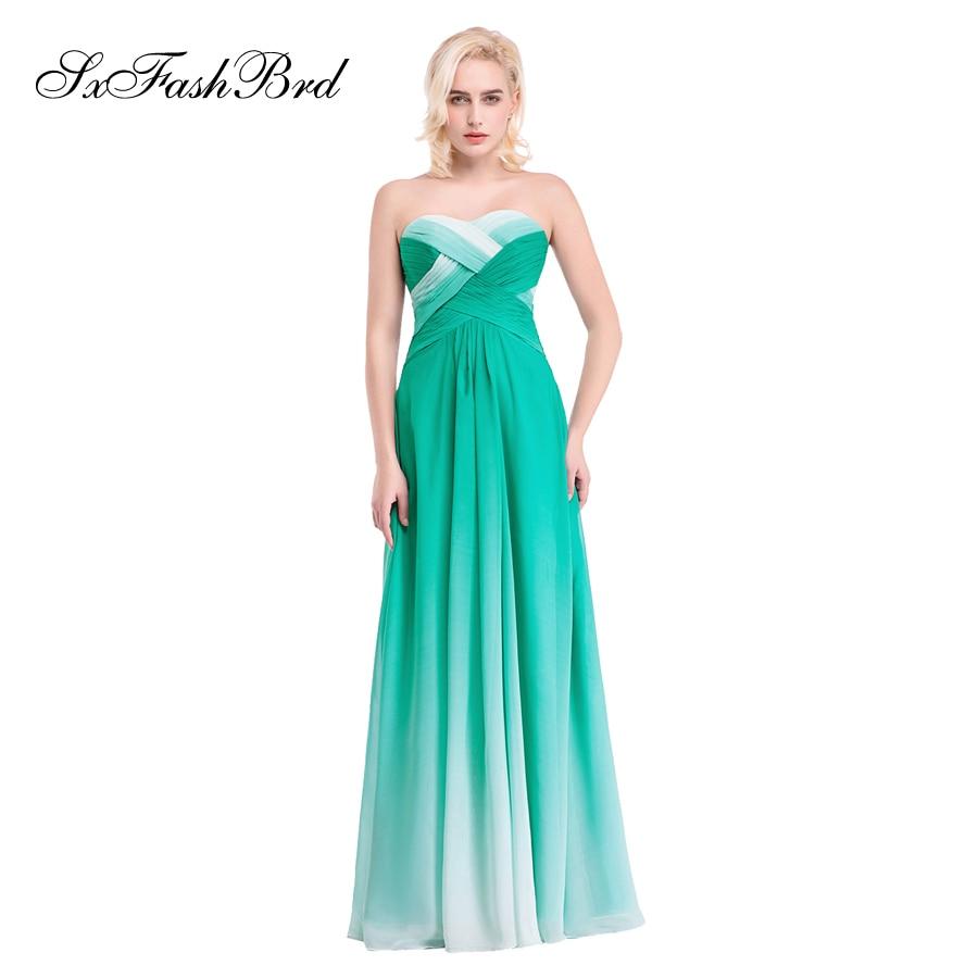 Vestido De Festa Sweetheart En Linje Sommer Flerfarvet Chiffon Lang - Særlige occasion kjoler - Foto 3