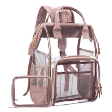 large capacity unisex backpack bag transparent student clear travel women Transparent
