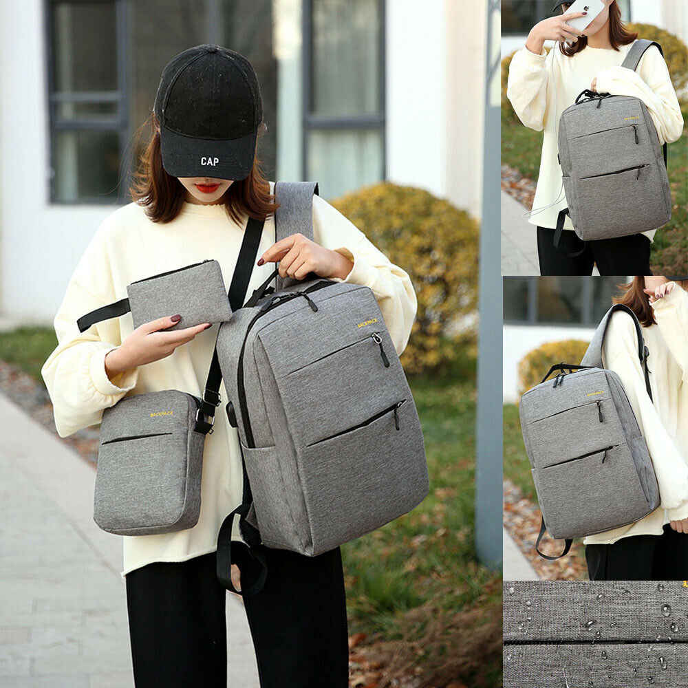 Anti-theft для мужчин's деловой рюкзак для ноутбука Путешествия multi-function canta школьная сумка зарядка через USB интерфейс плеча bag3 шт. комплект
