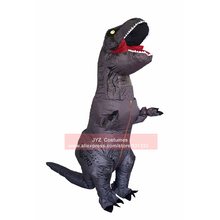 Inflatable T Rex Costume for Adult Blow Up Dinosaur Suit Scary Prank Cosplay Carnival Fancy Dress with Gloves Battery Pack Pump