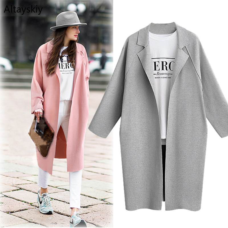 Trench   Women Loose Trendy European Style Pleated Simple Solid Autumn 2019 Womens Elegant All-match Coat Ladies Open Stitch Chic
