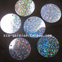 Laser sequins 30MM side hole round flat pieces clothing bridal shoes DIY accessories, PVC beads, sequins bulk