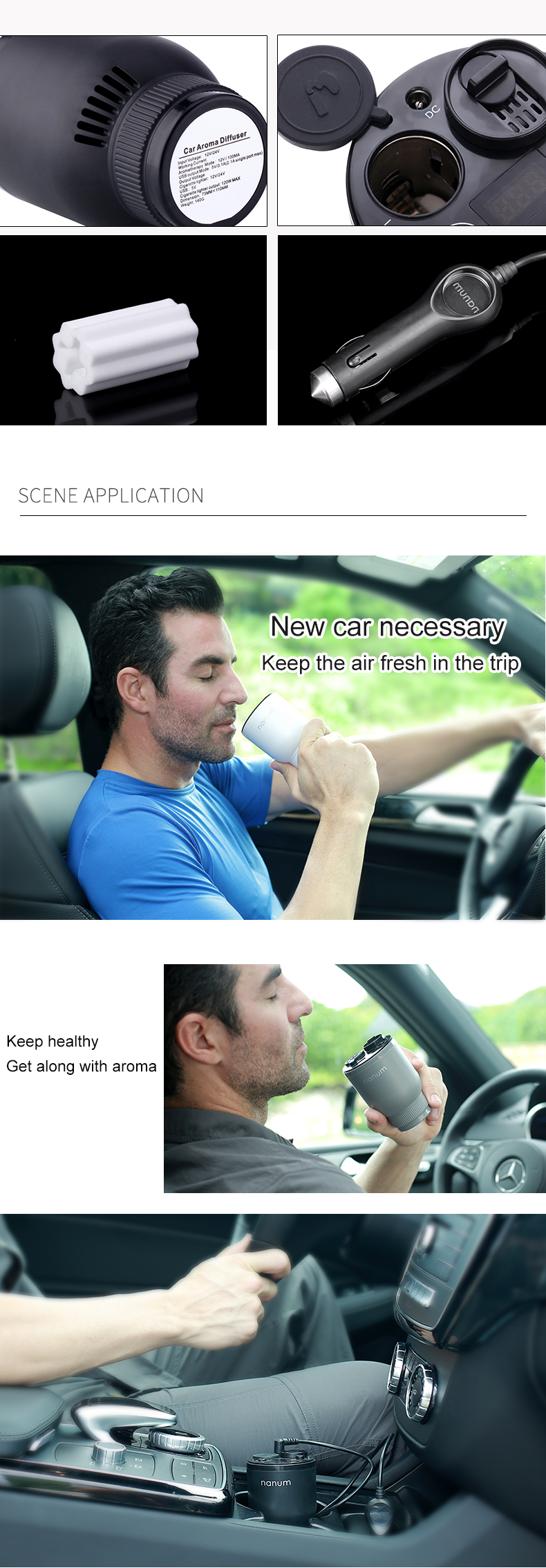 Car Aroma Cup Car Humidifier Car Charger Aroma Diffuser Car Energy Cup Car Air Purifier  (7)