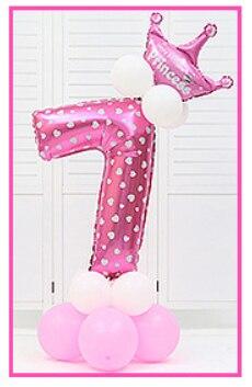 16 шт./упак. розового и голубого цвета для детей 0-9 цифры Большие Гелиевые номер Фольга детей фестивалей Dekoration День рождения шляпа игрушки для детей - Цвет: pink 7