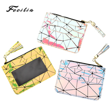 Fecilia New Lady PU Sample Laser Wallet with Credit Card Holder Coins Key Lipstick Purse Zip Holographic Fashionable Storage Bag