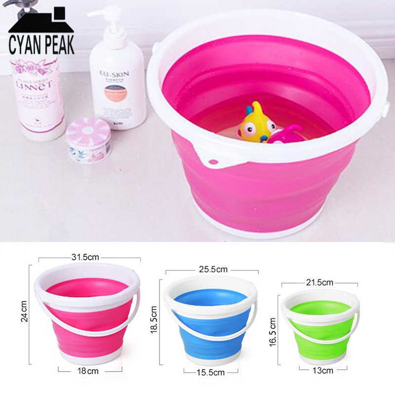 3/5/10 L Bucket for Fishing Promotion Folding Bucket Car Wash Outdoor Portable Art Bucket Silicone Fishing Supplies Camping