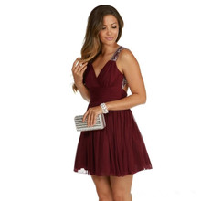 Burgund Cocktailkleider Eine Linie Backless robe de cocktail Short Party Kleider Perlen Falten Vor Keen Formale Kleid