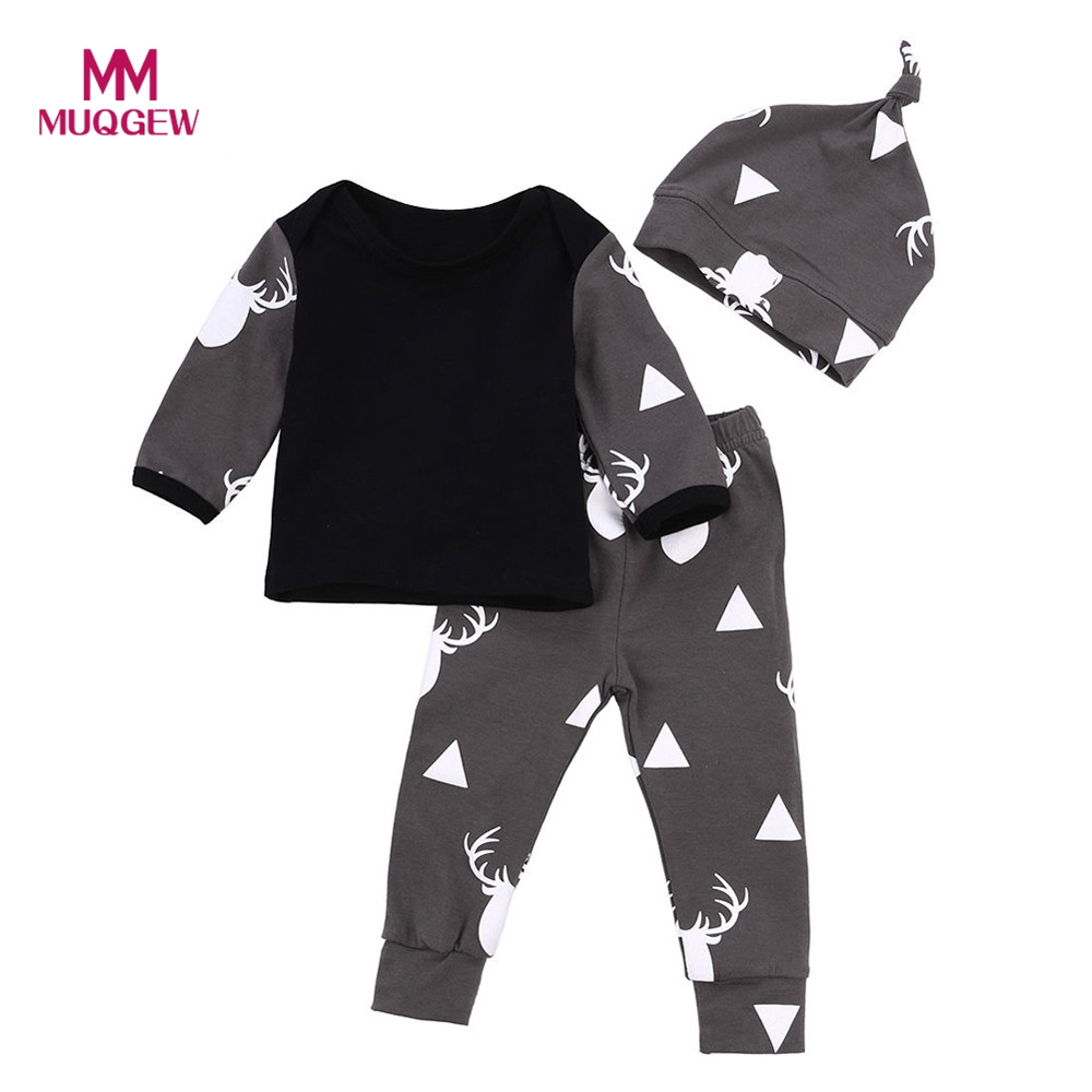 2017 New Autumn Cute Newborn Baby Girl Boys Clothes Deer Tops T-shirt Long Sleeve+Leggings Pants Casual Hat Cap 3pcs Outfits Set newborn infant girl boy long sleeve romper floral deer pants baby coming home outfits set clothes