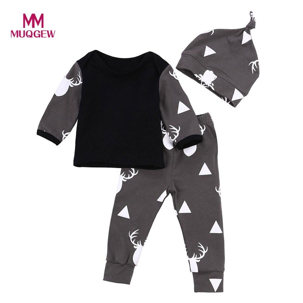 2017 Nuevo otoño lindo bebé recién nacido Niños ciervos Tops manga larga Camiseta + Leggings Pantalones sombrero tapa ocasional 3 unids fijaron