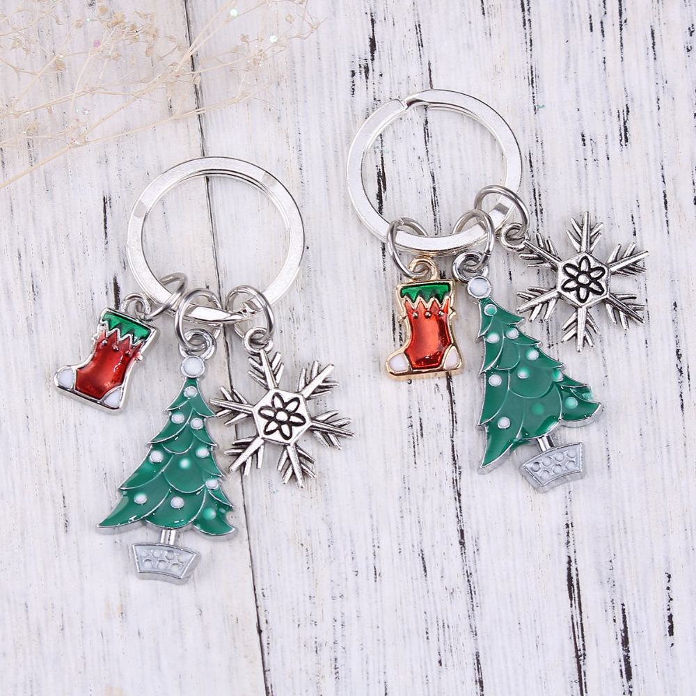 Doreen Box Key Chain & Key Ring Christmas Tree Silver Color Stocking Snowflake Carved White & Green Enamel 6.1cm(2 3/8