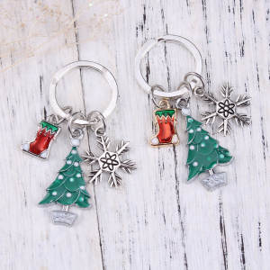 doreen box key chain key ring tree silver color white 1 pc - Silver Plated Christmas Tree Decorations