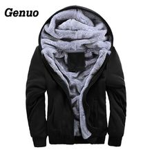 Genuo Coat Men Winter New Tracksuit Fashion Thicken Velvet Casual Hooded Warm Hoodies Solid Moleton Masculino Sweatshirt