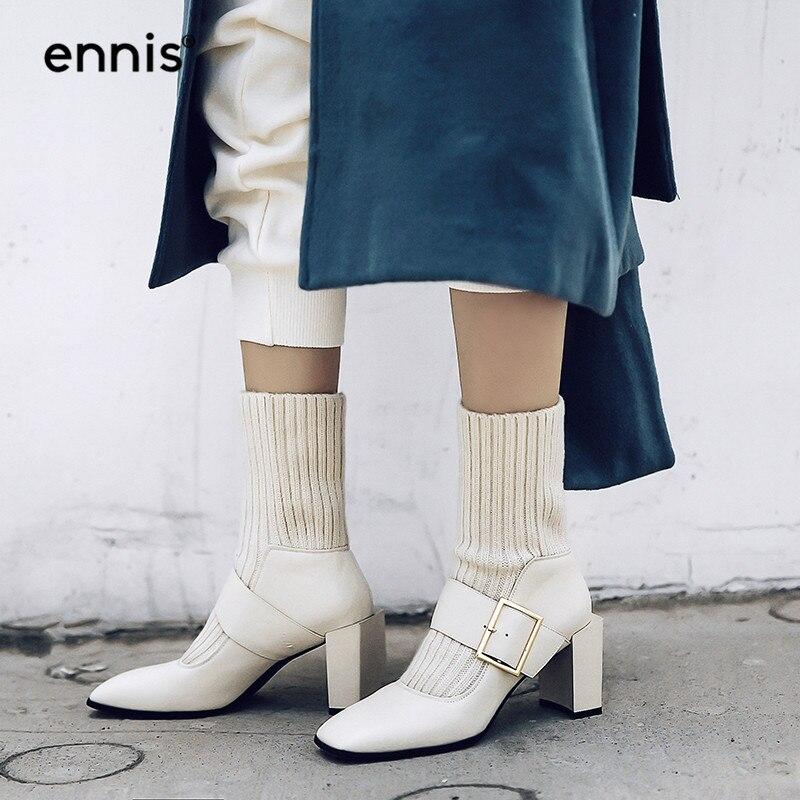 Genuino Invierno Hebilla 2018 Mujeres Otoño Beige Zapatos
