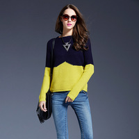 2018 Autumn Sweater Women Knitted Sweater Contrast Color Long Sleeve For Women Winter Simple Slim Pullover