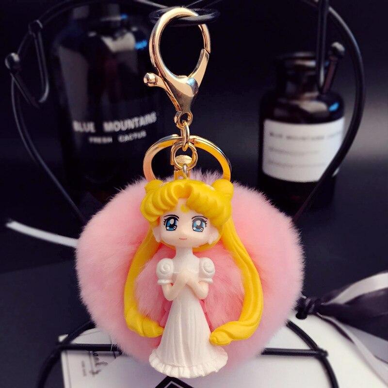 Anime Sailor Moon Key Chains Real Rabbit Fur Ball Pompoms