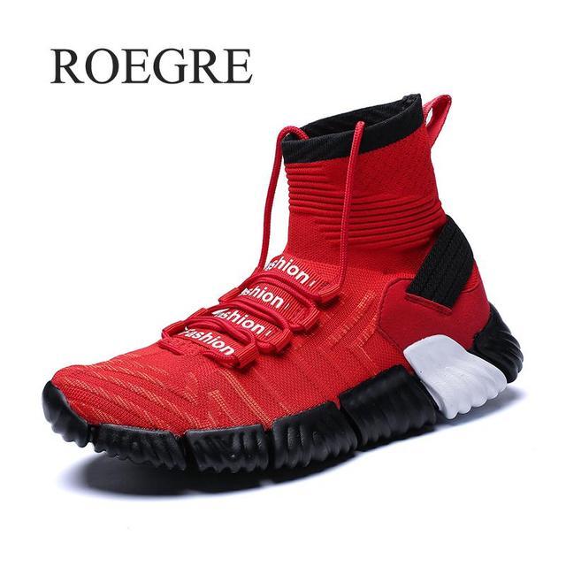 גבוהה למעלה גרב נעלי גברים 2018 לנשימה אור שחור אדום נעלי Cansual החלקה רך ריצה נעל לגבר Tenis masculino Adulto