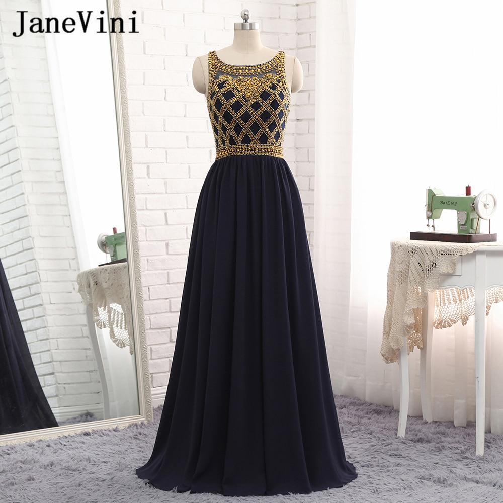 JaneVini Vestidos Sexy Black Beads Crystal Mother Of Bride Dress 2018 A Line Sheer Back Chiffon Floor Length Vestido Longo Noite