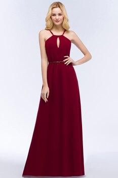 24 Hours Shipping Crystals Belt Burgundy Prom Dresses Long Vestido De Festa Sexy Backless Halter Neck Evening Party Dresses 4