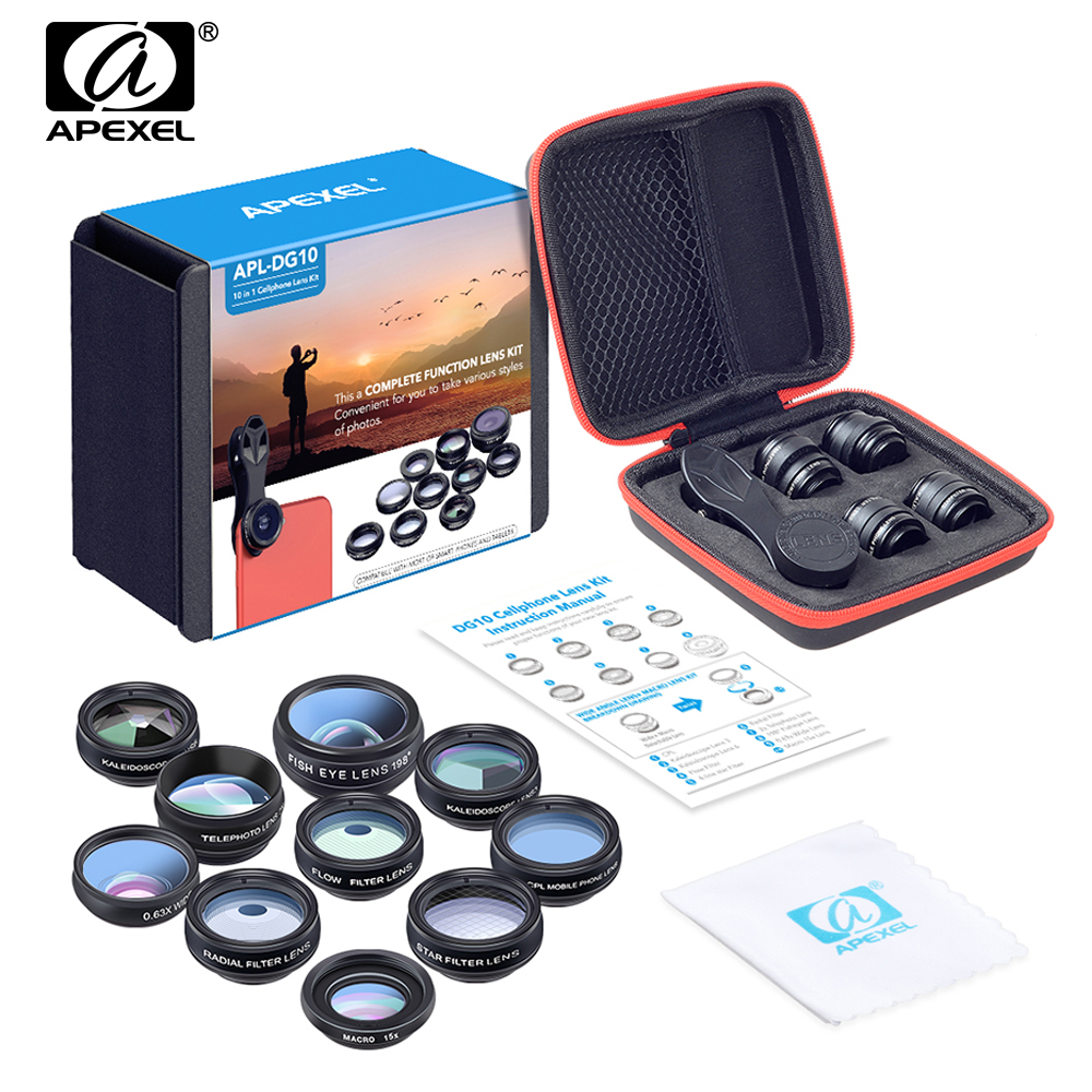 APEXEL 10in1 Phone Camera Lens For iphone 6s 7 8 X Xiaomi Samsung S8 S7 font