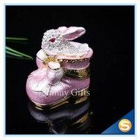 Cristallisé Lapin Lapin dans un Rose Chaussures Bejeweled Émail Trinket Box Boîte à Bijoux