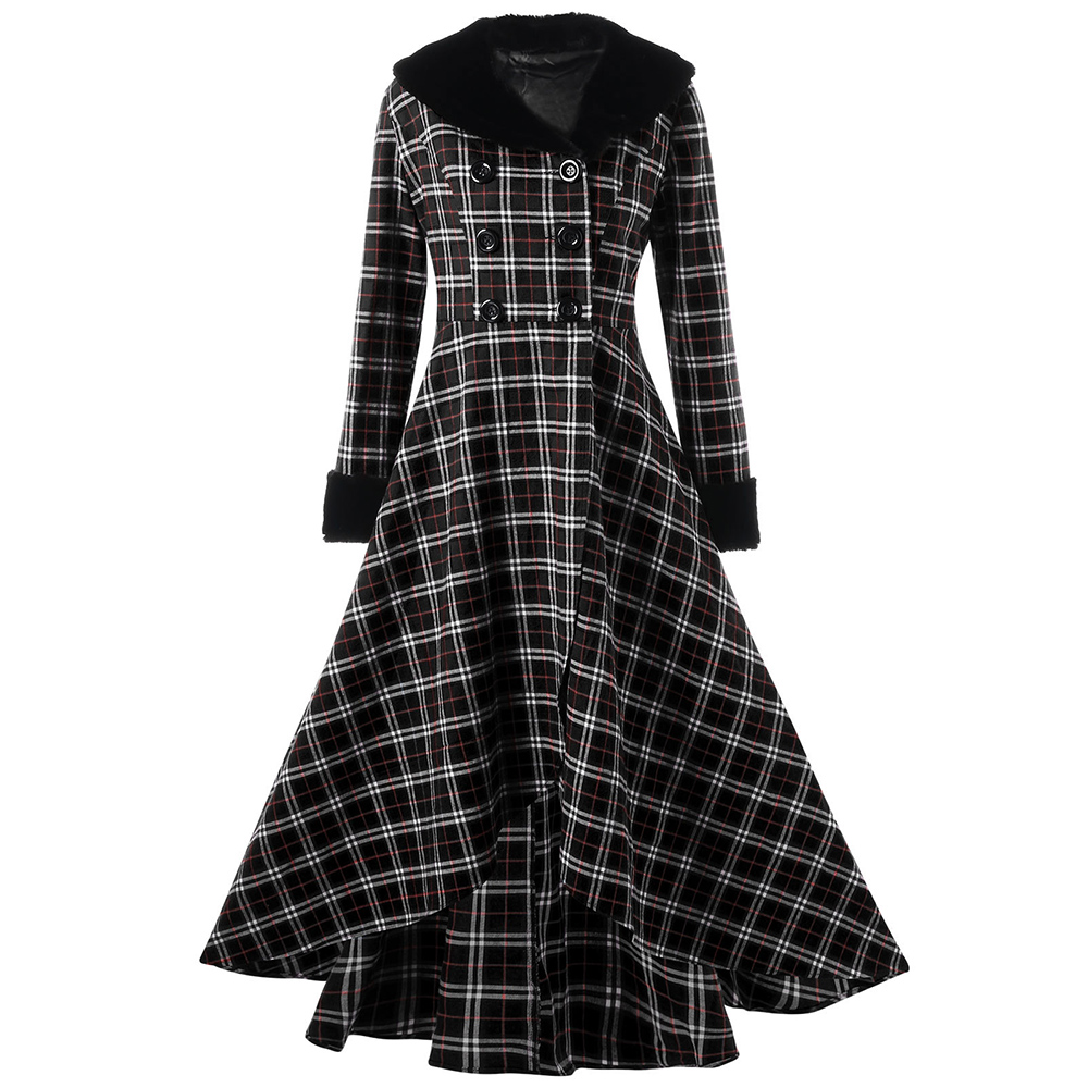 Lortalen Plus Size Winter Red Plaid Coat Women Ladie Top Double Breasted Plaid Swing Long Slim Casual Button Wool Coat Outerwear
