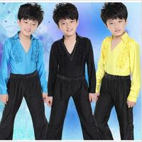 Boy's Latin Dance Shirt and Pants Classical Latin Ballroom Dancing Suit 3 Colors 110-160cm Wholesale Free Shipping