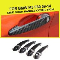 8 шт./компл. углеродного волокна Тюнинг автомобилей боковой двери ручка крышки с отделкой LED отверстие для BMW M3 F80 09 14
