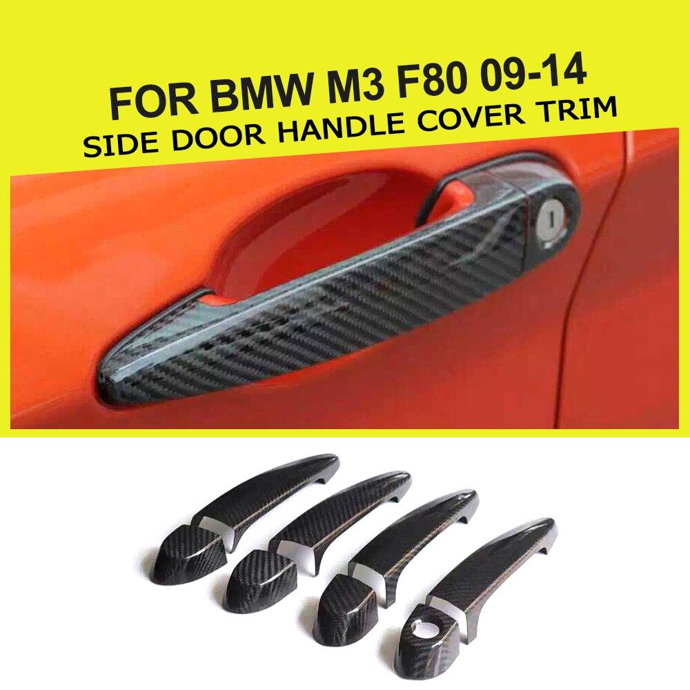 Garniture de couverture de poignée de porte latérale de style de voiture de fibre de carbone de 8 pièces/ensemble avec le trou mené pour BMW M3 F80 09-14