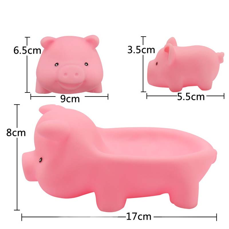 2Pcs Cute Soft Rubber Pink Pig Float Squeeze Sound Dabbling Toys Baby Bath Toys