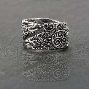 Myth gothic Odin's Raven Ring Huginn and Muninn Rings for men Religion ring Viking Jewelry Viking style Gift for him(China)