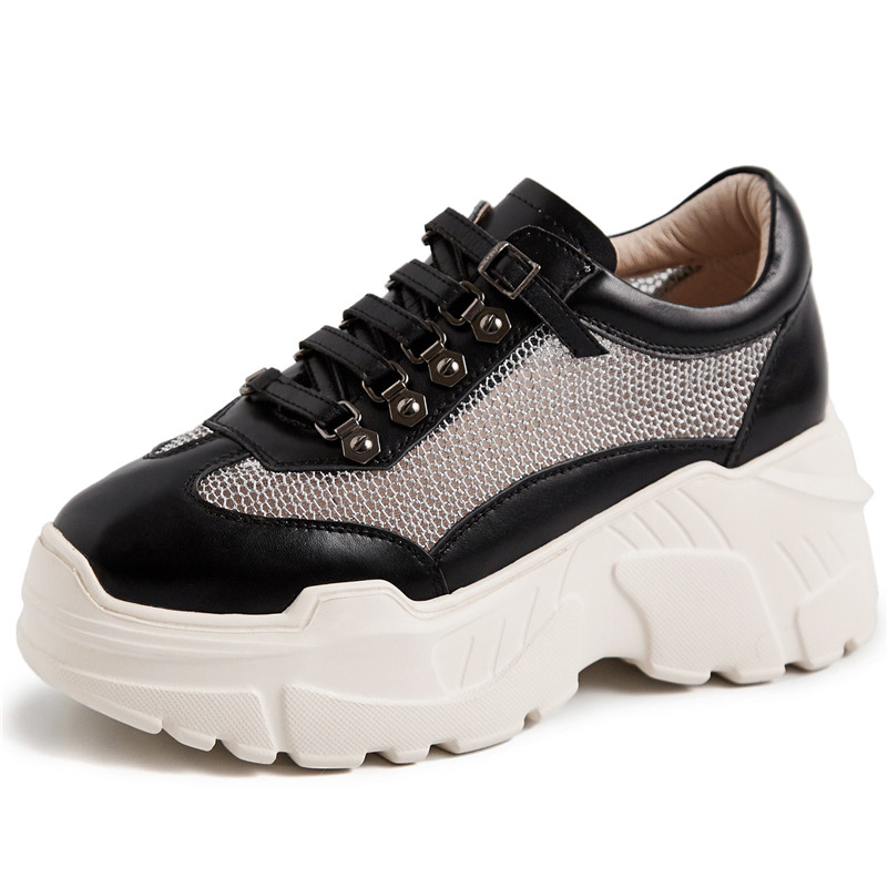FEDONAS nowych kobiet płaskie buty ze skóry naturalnej platformy buty kobieta zasznurować nity buty w stylu casual damskie oddychające wiosna trampki w Damskie buty typu flats od Buty na  Grupa 2