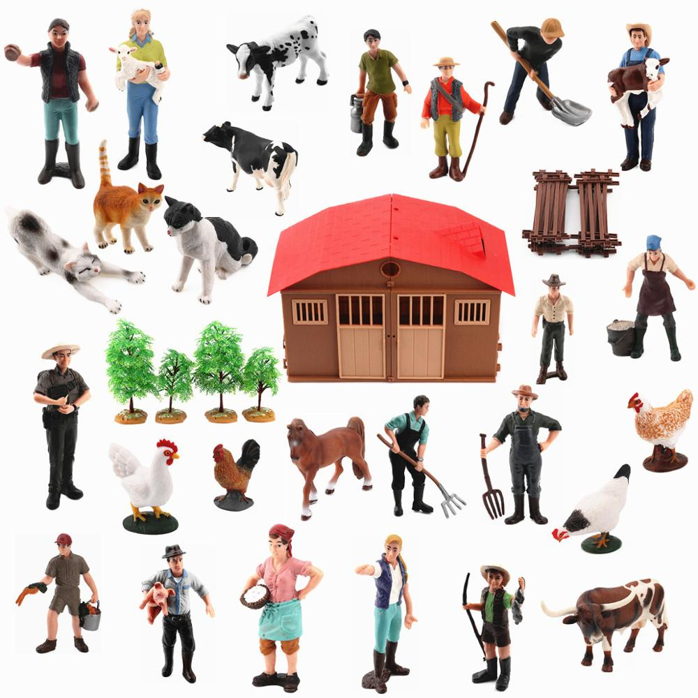 Genuine Farm Animals Poultry DIY Assembly Models Farmer Workers Horse Cow Pig Hen Horse Figures Educational Toys For Children
